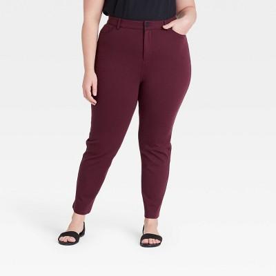 Women's Plus Size High-Rise 5-Pocket Ponte Pants - Ava & Viv™ Berry