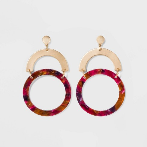 Half Circle and Ring Earrings - A New Day™ Gold - image 1 of 3