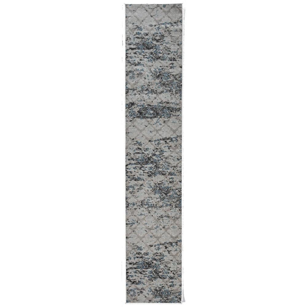 2 39 X10 39 Vintage Collection Trellis Rug Charcoal Gray Linon