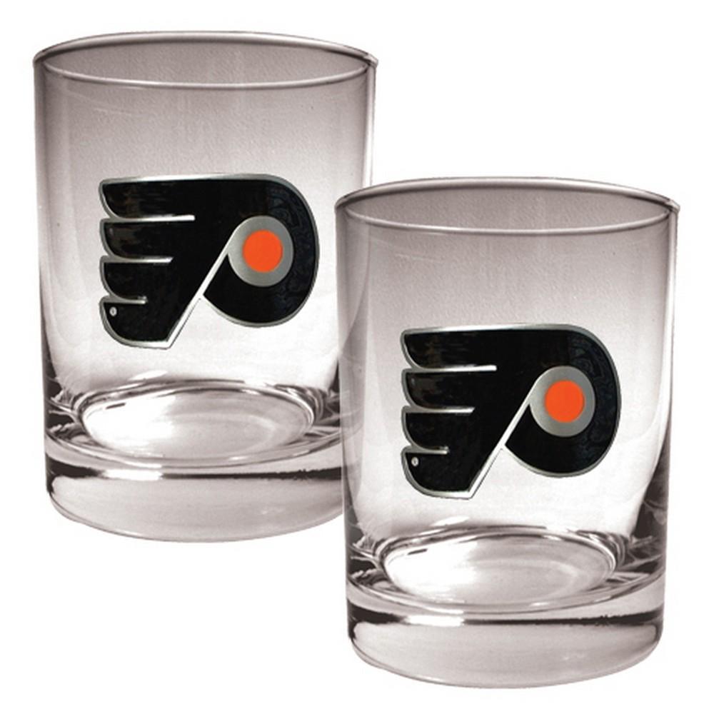 NHL Philadelphia Flyers 2pk Metal Emblem Rocks Glass Set