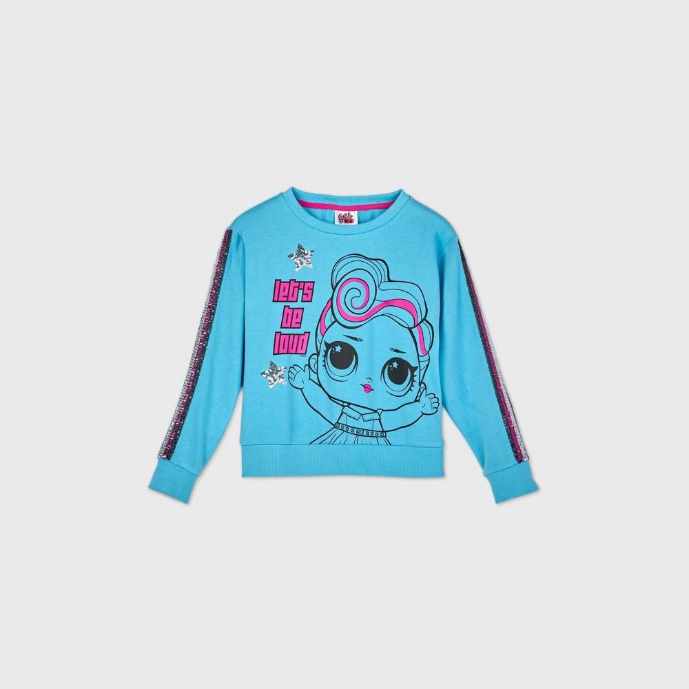 Girls 39 L O L Surprise Remix 39 Let 39 S Be Loud 39 Crop Sweatshirt Blue Xl Plus