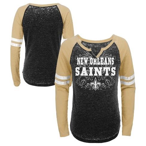 ca8d07f5 NFL New Orleans Saints Girls' Fashion Team Alt Color Burnout Long Sleeve  T-Shirt