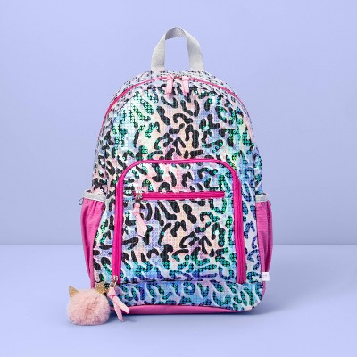 """17"""" Kids' Backpack Leopard Sequin - More Than Magic™"""
