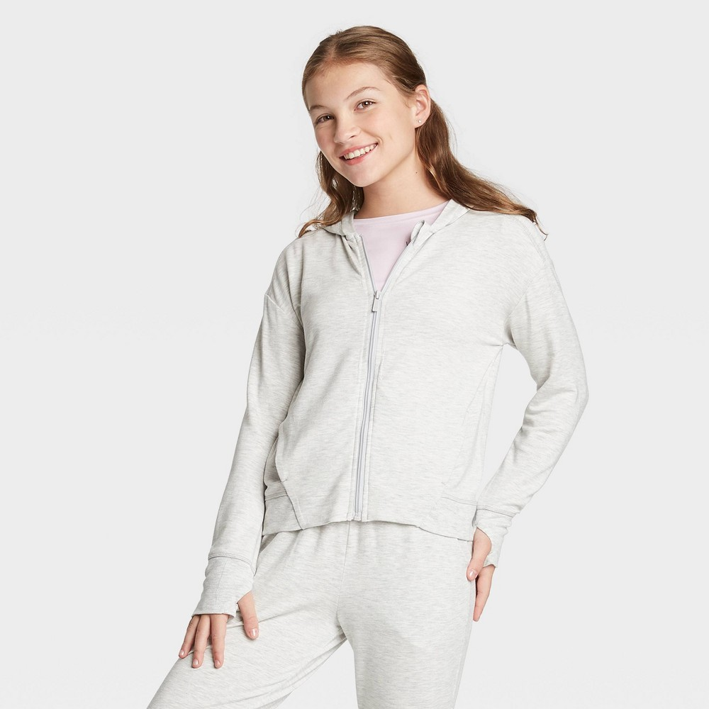Girls' Soft French Terry Full Zip Hoodie Sweatshirt - All in Motion Light Gray S, Girl's, Size: Small was $24.0 now $16.8 (30.0% off)