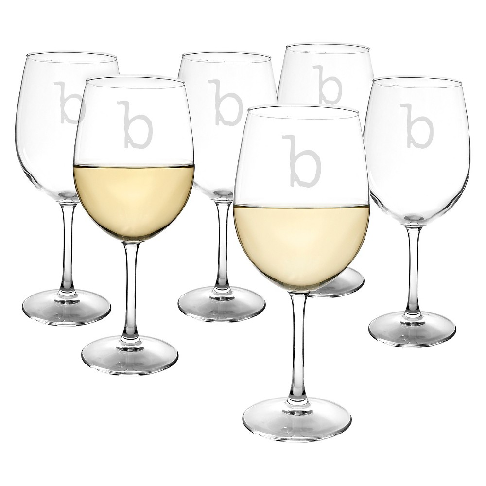 Cathy's Concepts Personalized 12 oz. White Wine Glasses (Set of 6)-B, Clear