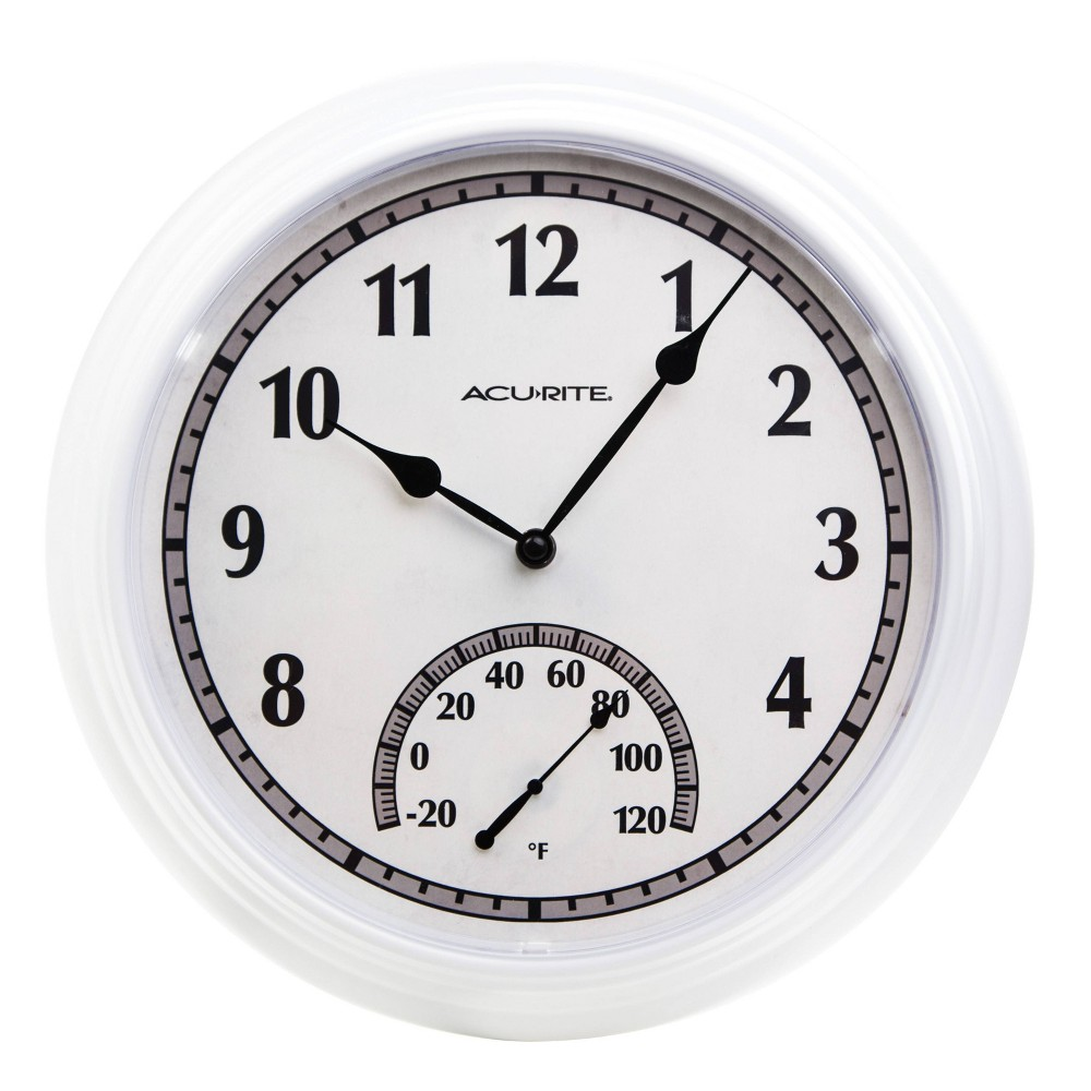 "Image of ""14"""" Outdoor/Indoor Wall Clock With Thermometer Gloss White Finish - Acurite"""