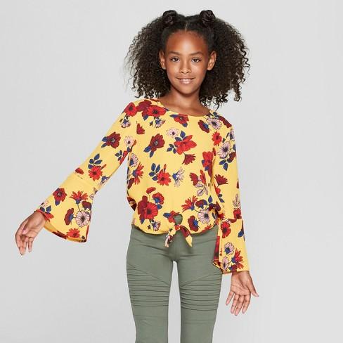 Girls  Floral Woven Front Tie Long Bell Sleeve Top - Art Class™ Gold ... 919c40b9e