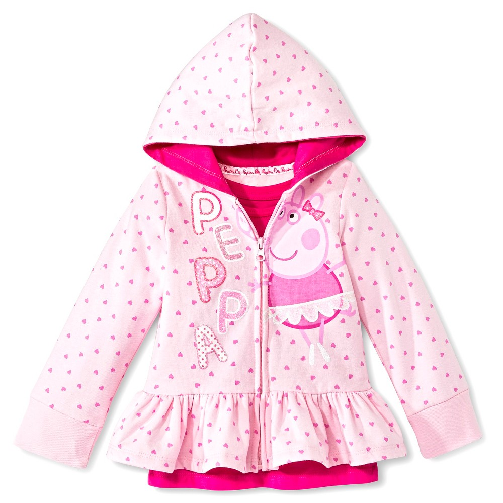 Toddler Girls' Peppa Pig 2 Piece Hoody and T-Shirt Set - Pink 4T