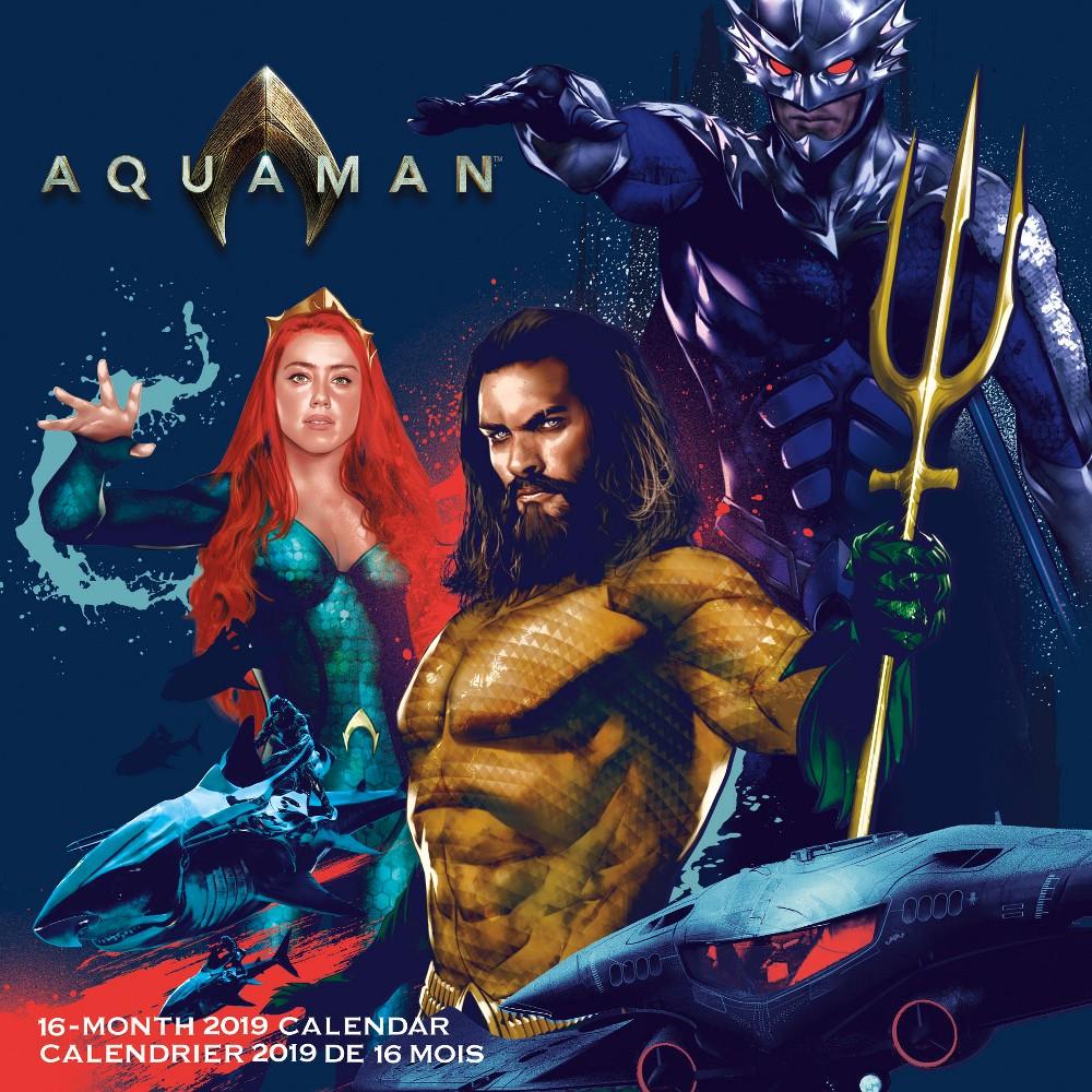 Aquaman Bilingual French 2019 Wall Calendar, Multi-Colored