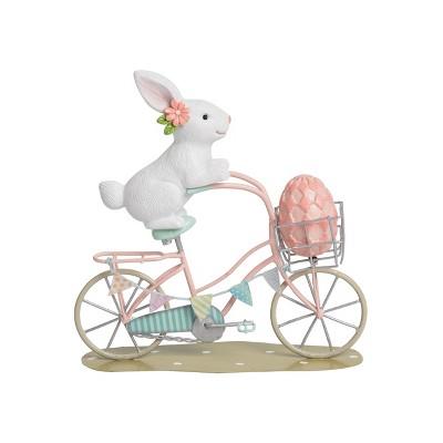 C&F Home Bunny Ride Bike W/Egg Easter Figurine
