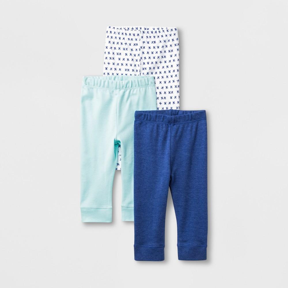 Baby Girls' 3pk Leggings - Cloud Island Blue/White 3-6M