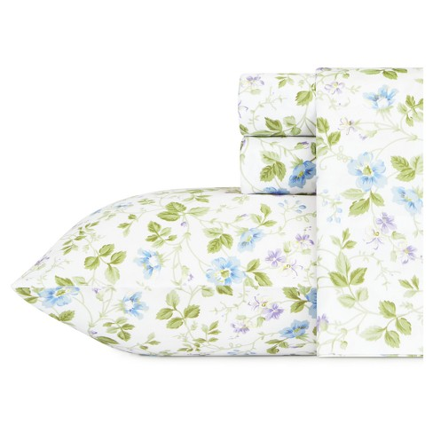 Spring Bloom Wildflower Blue 300 Thread Count - Laura Ashley® - image 1 of 3