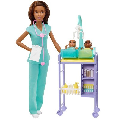 Barbie You Can Be Anything Baby Doctor Brunette Doll and Playset