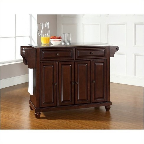 Wood Stainless Steel Top Kitchen Island in Mahogany Brown - Bowery Hill - image 1 of 2