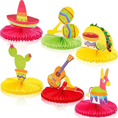 6-Pack Fiesta Party Honeycomb Centerpiece for Kids Birthday, Cinco De Mayo, Mexican Party Supplies and Table Decorations, 12 inches