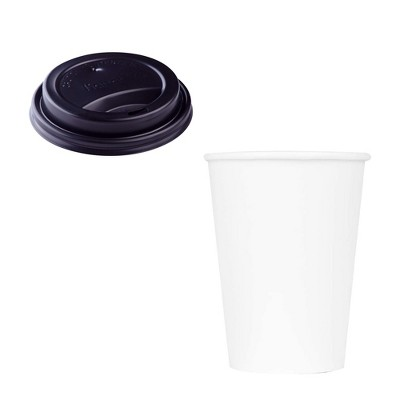 Karat Hot Drink Sipper Polypropylene Plastic Dome Lid for 10 to 24 Ounce Paper Hot Cups with 24 Ounce Poly Lined Paper Cups, Case of 1000