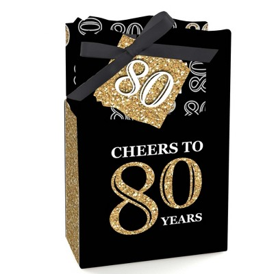 Big Dot of Happiness Adult 80th Birthday - Gold - Birthday Party Favor Boxes - Set of 12