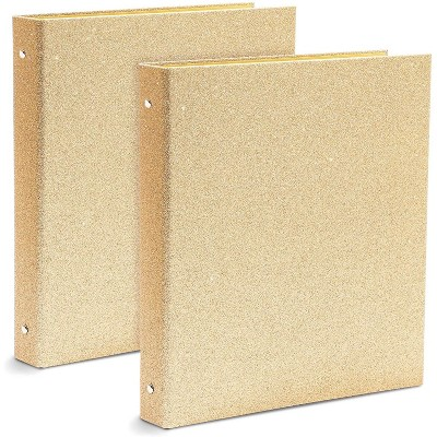 Paper Junkie 2-Pack Glitter Gold 3-Ring Hardcover File Binder, Office Accessories 10.7 x 12 x 1.8 in