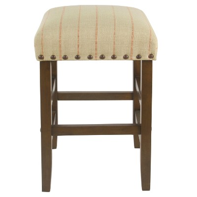 "24"" Backless Counter Height Barstool with Nailheads Cream with Red Stripe - HomePop"