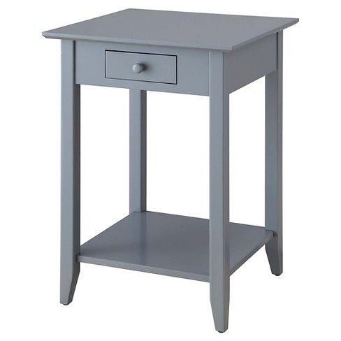 American Heritage End Table with Drawer and Shelf - Gray - Convenience Concepts - image 1 of 4