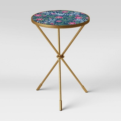 Paeonia Pattern Glass Top End Table Light Gold - Opalhouse™