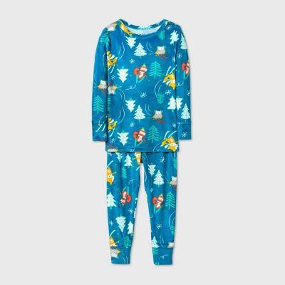 Toddler Girls' 2pc Woodland Animal Snuggly Soft Pajama Set - Cat & Jack™ Green 4T
