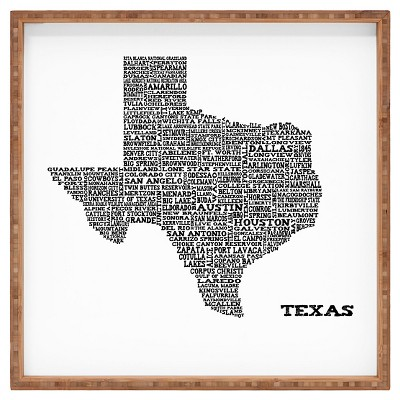 Restudio Designs Texas Map Square Tray - Orange - Deny Designs