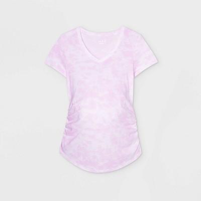 Maternity Tie-Dye Short Sleeve V-Neck Side Shirred T-Shirt - Isabel Maternity by Ingrid & Isabel™ Light Purple XXL