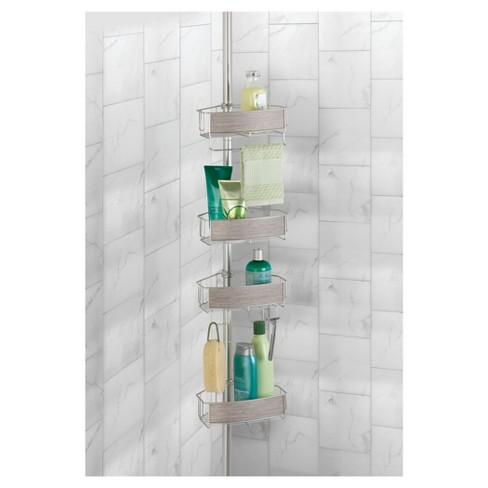 RealWood Constant Tension Bathroom Shower Caddy Satin/Gray Wood ...