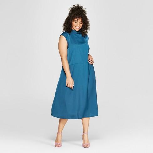 Women\'s Plus Size Tie Back Neck Column Midi Dress - Who What Wear™ Blue 1X