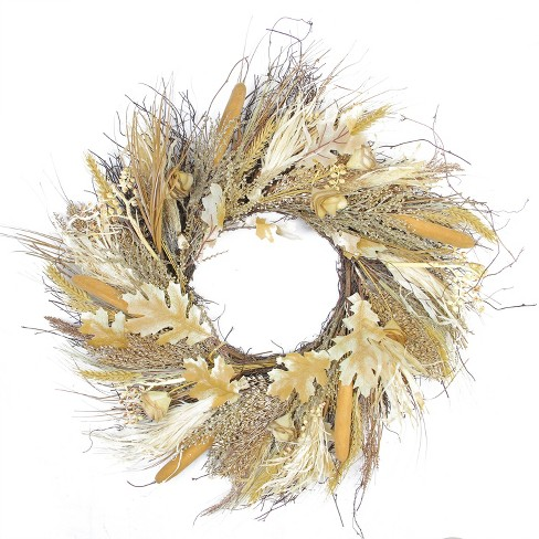 "Northlight Autumn Harvest Cattail and Wheat Artificial Thanksgiving Wreath - 24"" Unlit - image 1 of 2"