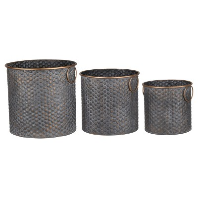 Seneca Metal Planters - Copper Band Set Of 3 - A&B Home