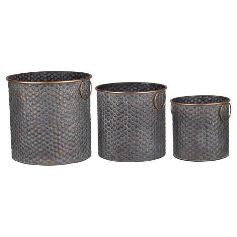 Seneca Metal Planters - Copper Band Set Of 3 - A&B Home - image 1 of 1
