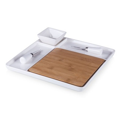 Legacy Peninsula Cutting Board Serving Tray with Cheese Tools