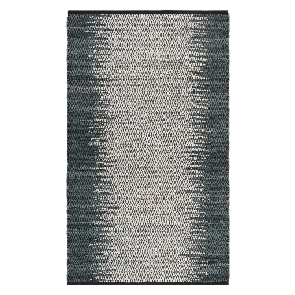 3X5 Solid Woven Accent Rug Gray/Cream - Safavieh Top