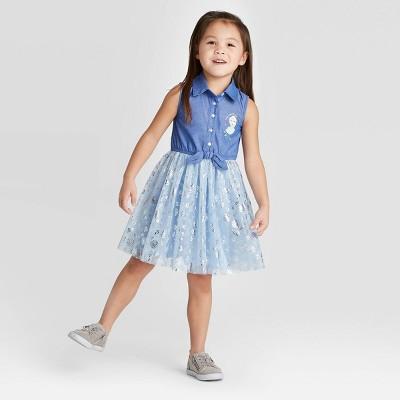 Toddler Girls' Disney Frozen Elsa Chambray Sleeveless Dress-Light Blue