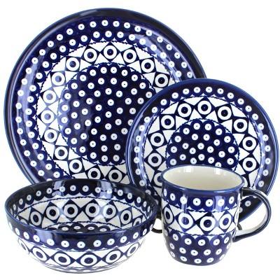 Blue Rose Polish Pottery Xandra 16 Piece Dinnerware Set