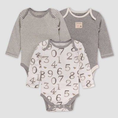 Burt's Bees Baby® Baby 3pk 'One Two Bee' Bodysuit - Gray 0-3M