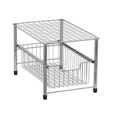 Household Essentials Single Pull-Out Basket Organizer Chrome
