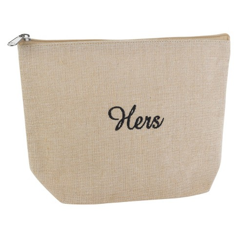 """Hers"" Jute Cosmetic Bag - image 1 of 1"
