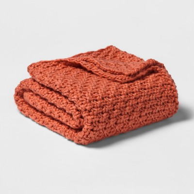 60 x50  Chunky Knit Throw Blanket Orange - Threshold™