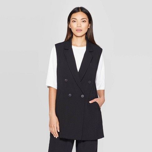 Women's Sleeveless Button Front Double Breasted Long Vest - Prologue™ Black - image 1 of 3