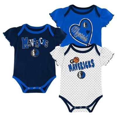 NBA Dallas Mavericks Girls' Draft Pick Body Suit Set 3pk - 0-3M