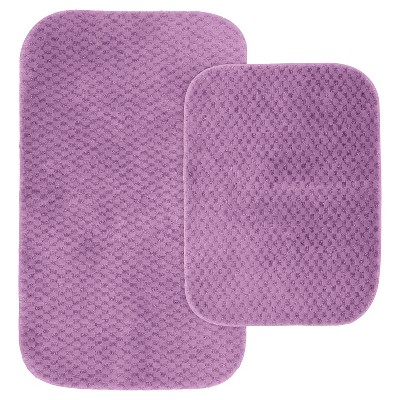 2pc Cabernet Nylon Washable Bath Rug Set Purple - Garland