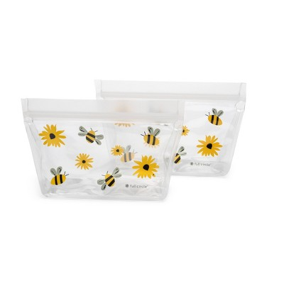 Full Circle 1.5 Cup 2pk Reusable Snack Bag Bees and Flowers
