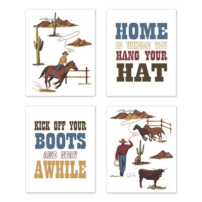 4pc Wild West Art Print Set - Sweet Jojo Designs