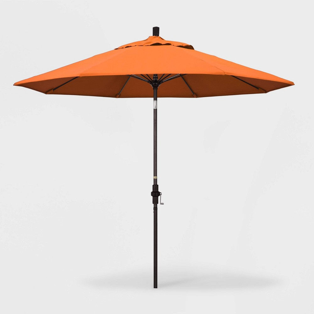 9' Sun Master Patio Umbrella Collar Tilt Crank Lift - Sunbrella Tangerine (Orange) - California Umbrella