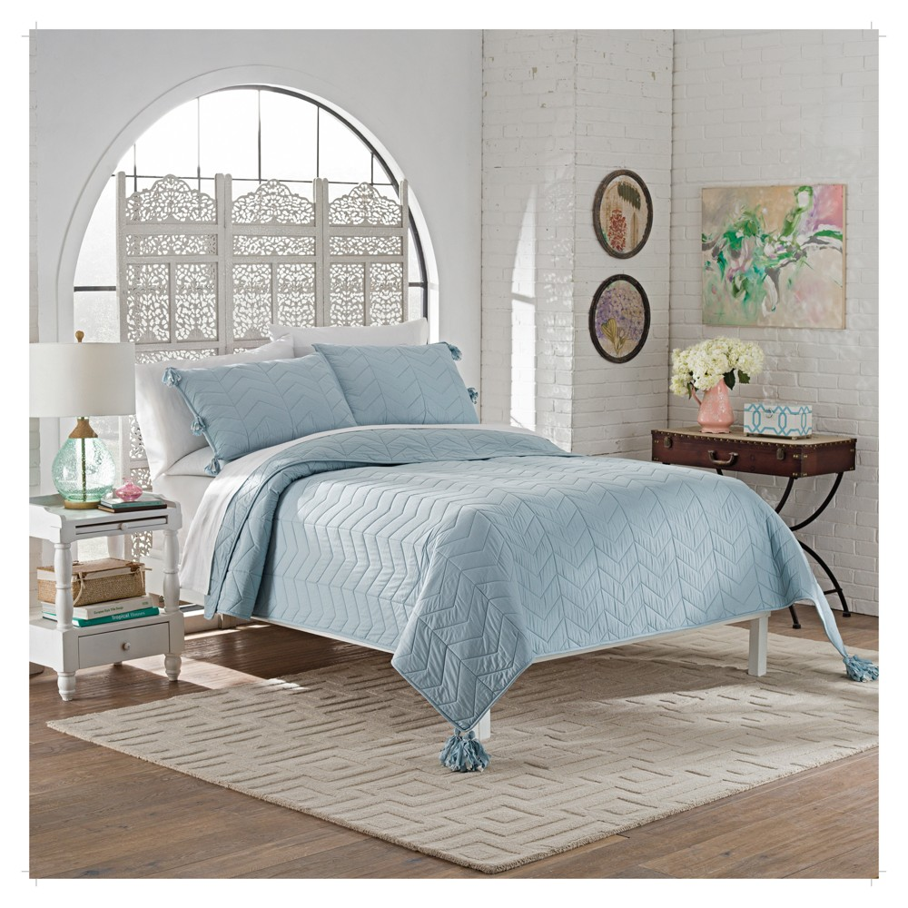 Image of Blue Solid Nadia Quilt Set (King) 3pc - Marble Hill