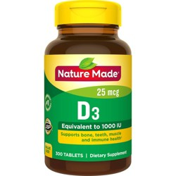 Nature Made Vitamin D3 Dietary Supplement Tablets - 300ct