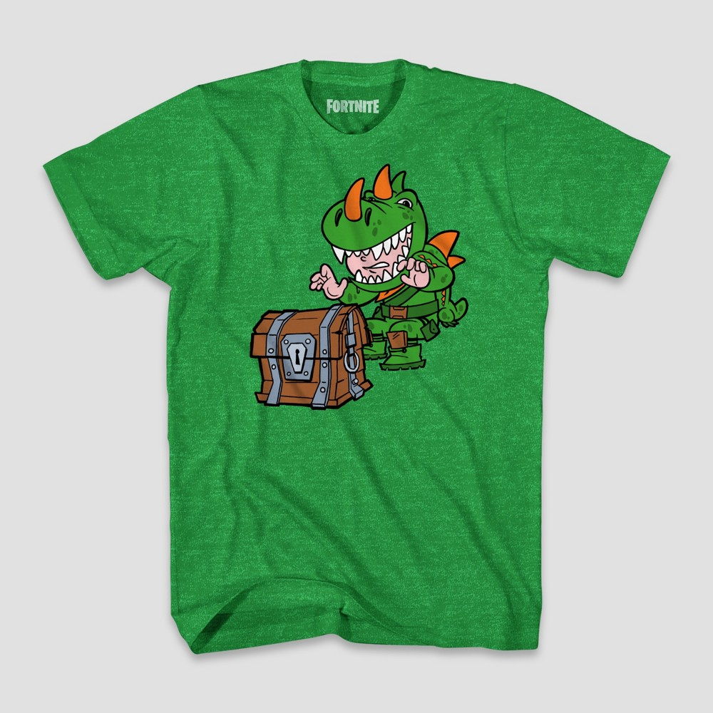 Boys' Fortnite Dinoguy Chibi & Chest Short Sleeve T-Shirt - Green Heather L